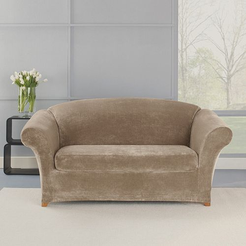 Sure Fit 2-piece Stretch Plush Loveseat Slipcover