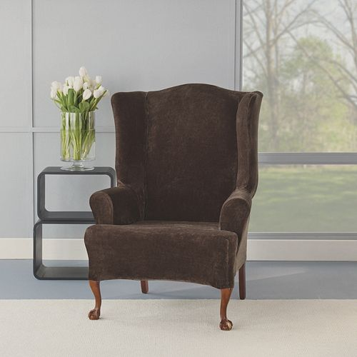 Sure Fit Stretch Plush Wing Chair Slipcover