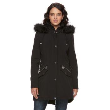 Women's LNR Fashion Styles Hooded Faux-Fur Trim Jacket