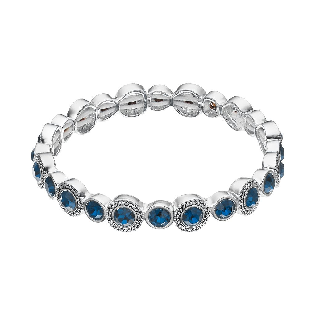 Napier Round Stone Stretch Tennis Bracelet