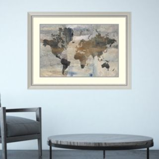 Amanti Art Stone World Map Framed Wall Art