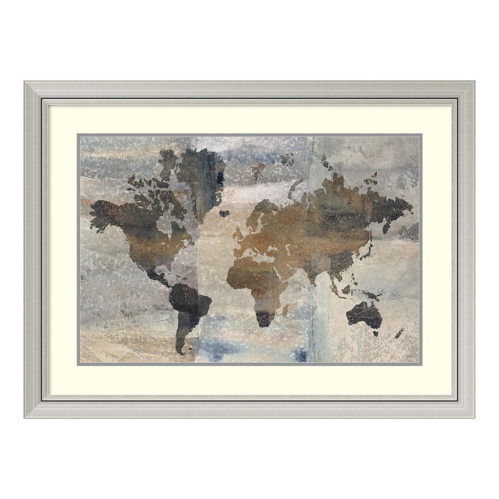 Amanti Art Stone World Map Framed Wall Art