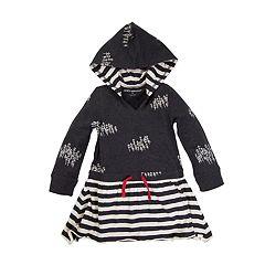Baby Girl Burt's Bees Baby Organic Faux Drawstring Hooded Dress