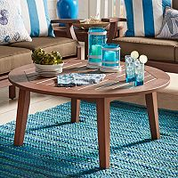 HomeVance Glen View Indoor / Outdoor Round Wood Coffee Table