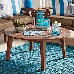 HomeVance Glen View Indoor / Outdoor Round Wood Coffee Table