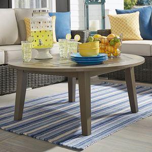 HomeVance Glen View Indoor \/ Outdoor Round Wood Coffee Table