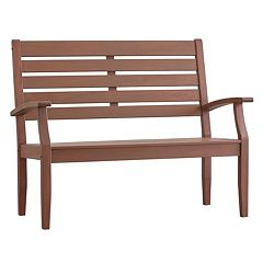 HomeVance Glen View Indoor / Outdoor Slatted Wood Bench