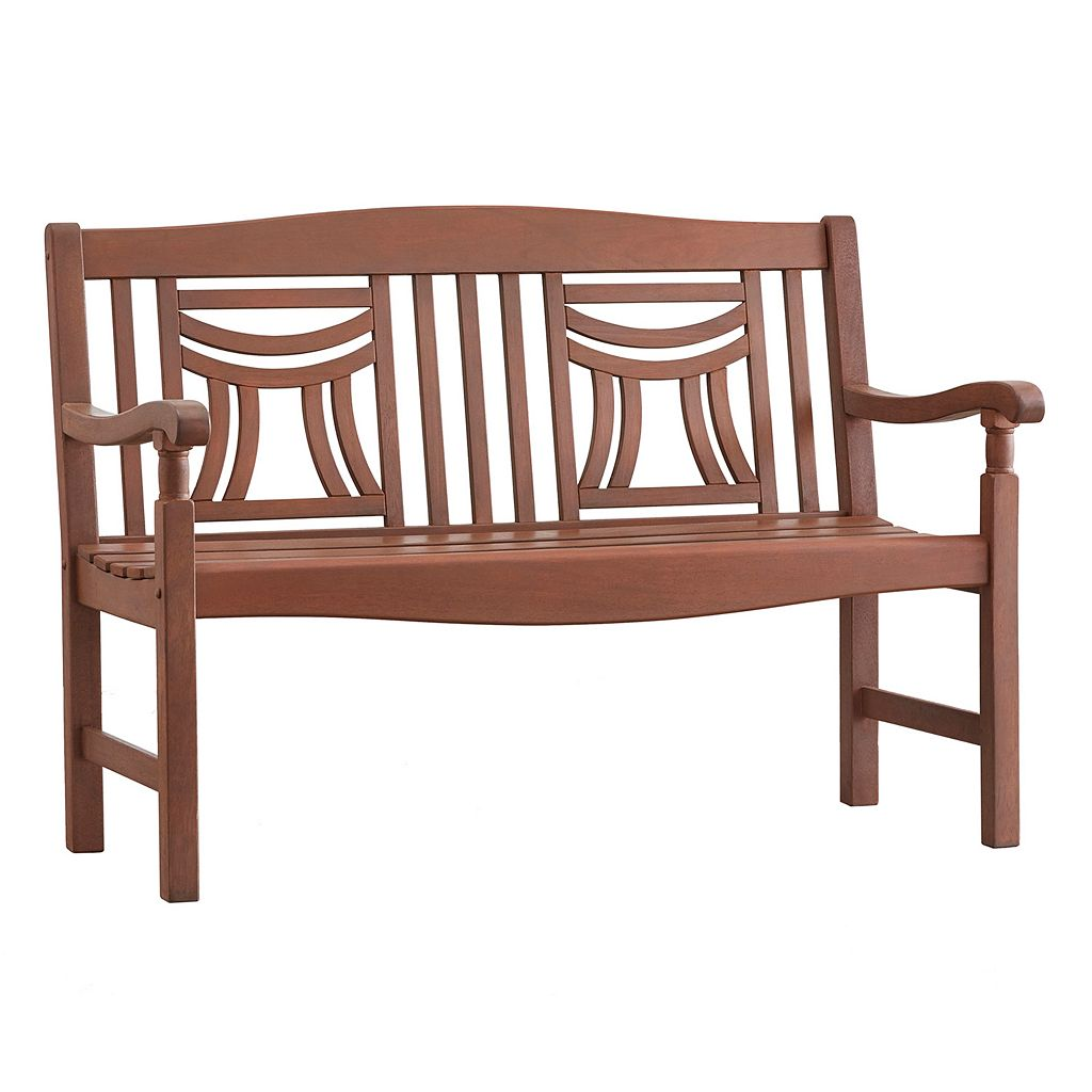 HomeVance Glen View Indoor / Outdoor Decorative Wood Bench