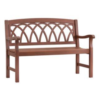 HomeVance Glen View Indoor / Outdoor Swirl Back Wood Bench