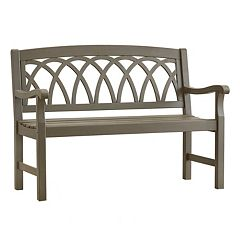 HomeVance Glen View Indoor / Outdoor Swirl Back Wood Bench