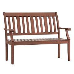 HomeVance Glen View Indoor / Outdoor Slat Wood Bench