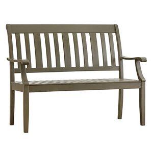 HomeVance Glen View Indoor \/ Outdoor Slat Wood Bench