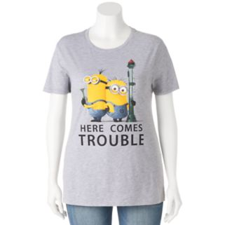 """Juniors' Plus Size Despicable Me Minions """"Here Comes Trouble"""" Graphic Tee"""