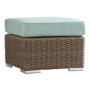 HomeVance Ravinia Mocha Wicker Patio Ottoman