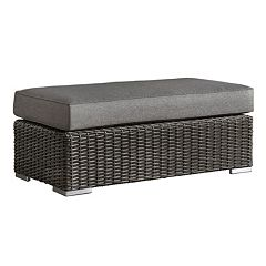 HomeVance Ravinia Charcoal Wicker Patio Coffee Table Ottoman