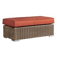 HomeVance Ravinia Mocha Wicker Patio Coffee Table Ottoman