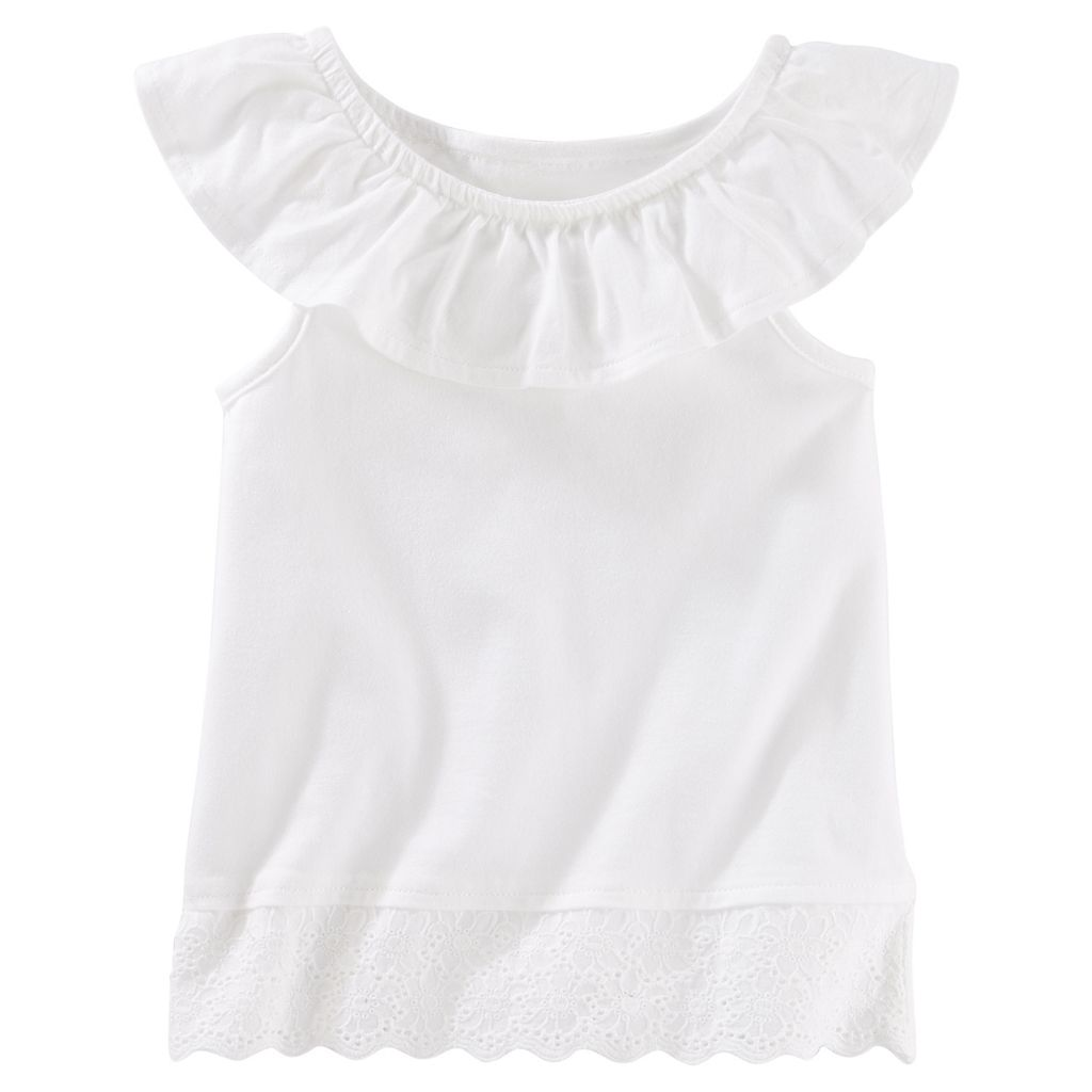Toddler Girl OshKosh B'gosh® Ruffled Eyelet-Hem Tank Top