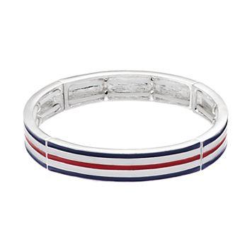 Napier Striped Stretch Bangle Bracelet