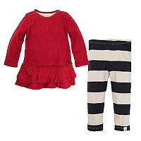 Baby Girl Burt's Bees Baby Organic Thermal Ruffle Skater Dress & Leggings Set