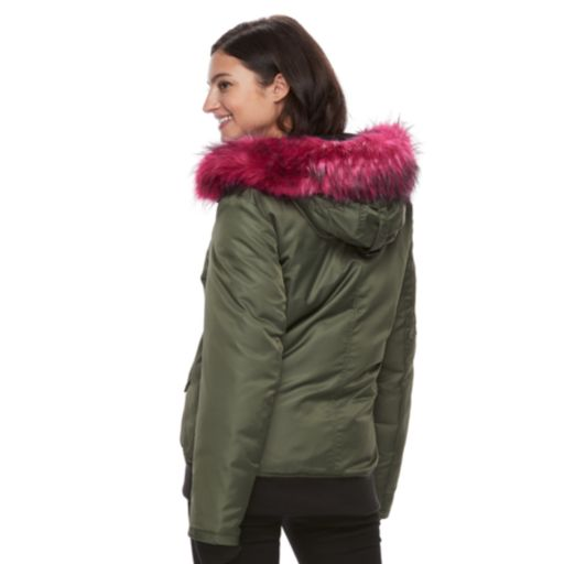 Women's S13 Dani Hooded Faux-Fur Trim Bomber Jacket