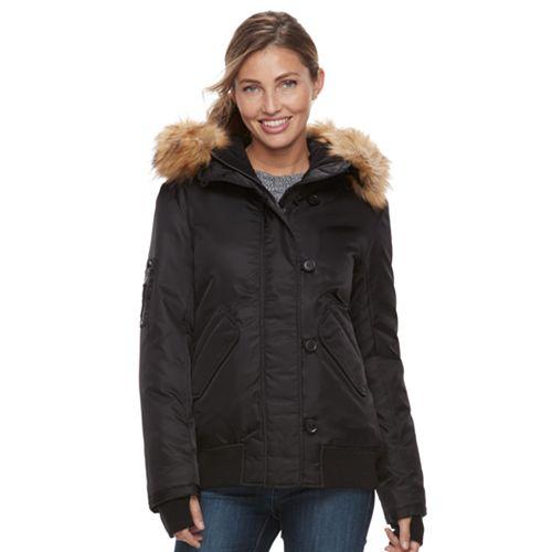 Women's S13 Dani Hooded Faux-Fur Trim Bomber Jacket