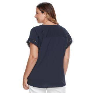 Plus Size Croft & Barrow® Crepe Popover Top