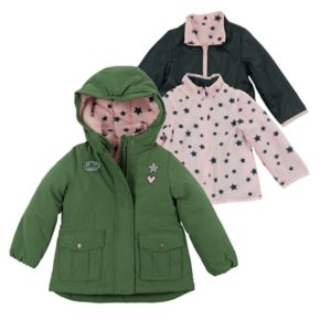 Girls 4-6x OshKosh B'gosh® Heavyweight Star Pattern Fleece-Lined 4-in-1 Systems Jacket