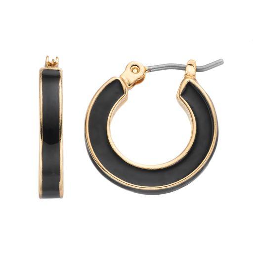Napier Inlaid Hoop Earrings