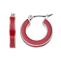 Napier Inlaid Nickel Free Hoop Earrings