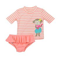 Baby Girl Carter's Striped Rashguard & Ruffled Bikini Bottoms Set