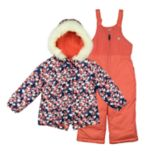 Girls 4-8 OshKosh B'gosh® Faux-Fur Trim Hood & Heart Patterned Heavyweight Jacket & Bib Snow Pants Set