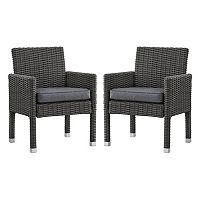 HomeVance Ravinia Charcoal Wicker Dining Arm Chair 2 pc Set