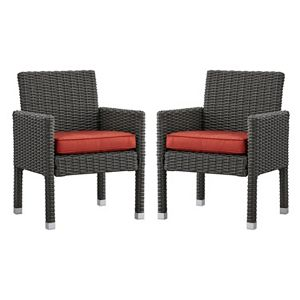 HomeVance Ravinia Charcoal Wicker Dining Arm Chair 2-piece Set