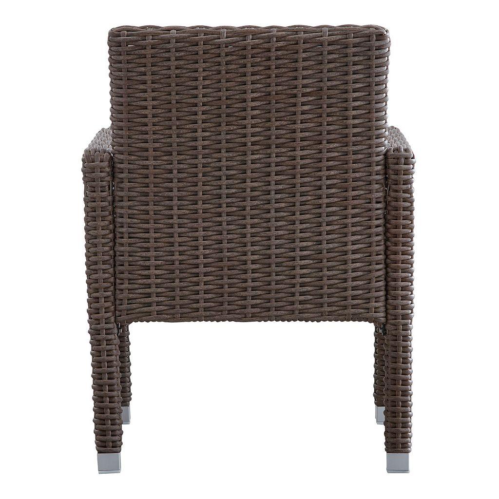 HomeVance Ravinia Mocha Wicker Dining Arm Chair 2-piece Set