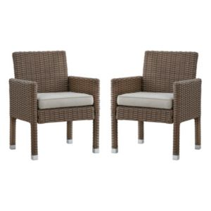 HomeVance Ravinia Mocha Wicker Dining Arm Chair 2-piece Set