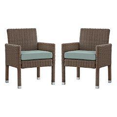 HomeVance Ravinia Mocha Wicker Dining Arm Chair 2 pc Set