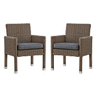 HomeVance Ravinia Mocha Wicker Dining Arm Chair 2 pc Set