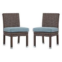 HomeVance Ravinia Mocha Wicker Dining Chair 2 pc Set