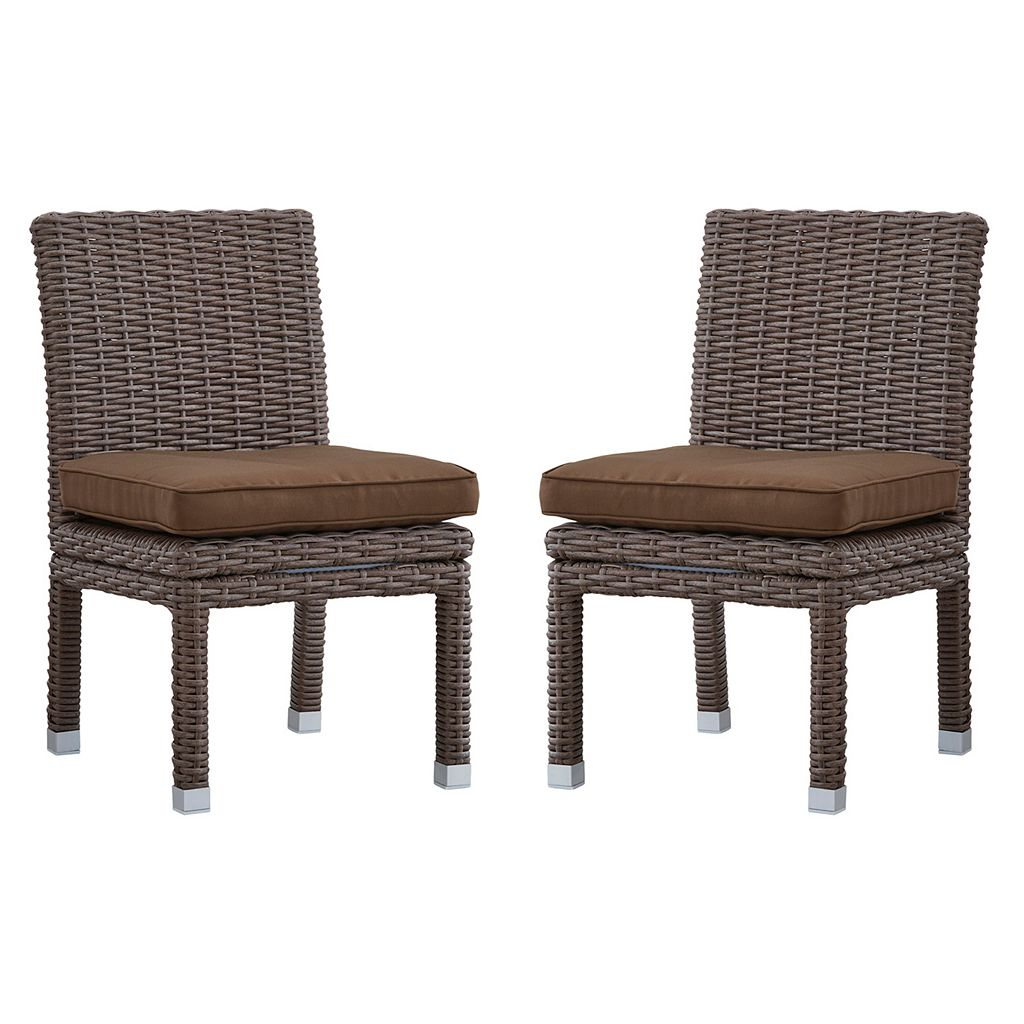 HomeVance Ravinia Mocha Wicker Dining Chair 2-piece Set