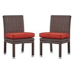 HomeVance Ravinia Mocha Wicker Dining Chair 2 pc Set