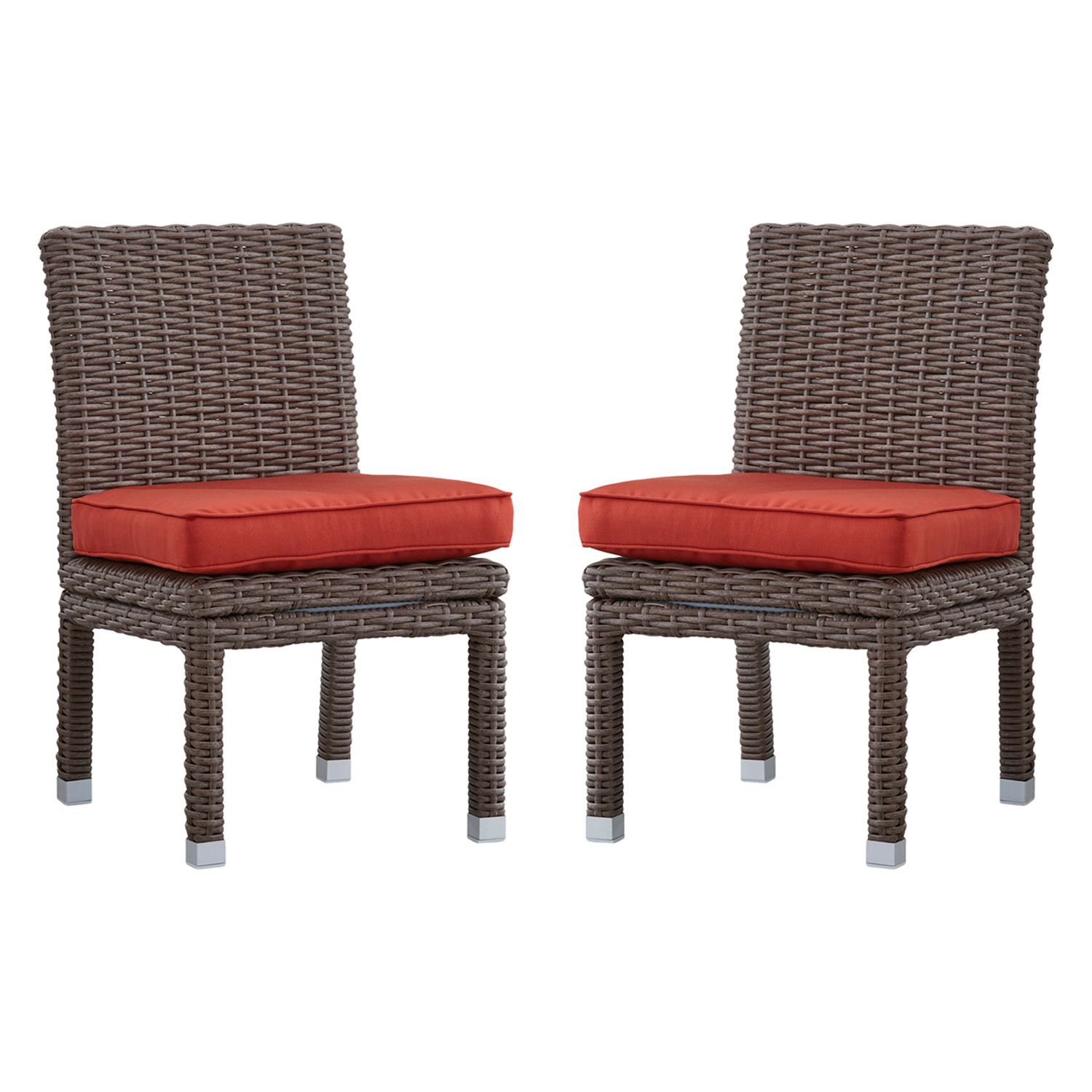 HomeVance Ravinia Mocha Wicker Dining Chair 2 Piece Set. Brown Gray Red