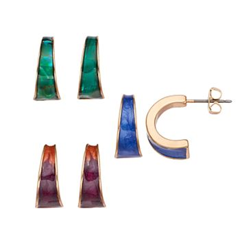 Simulated Abalone Half Hoop Earring Set