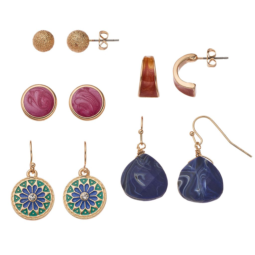 Medallion, Marbled Inlay & Simulated Sodalite Earring Set