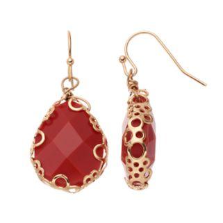 Red Perforated Frame Teardrop Earrings