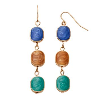 Marbled Inlay Linear Drop Earrings
