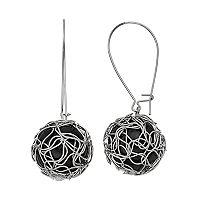 Black Wire Wrapped Bead Drop Earrings