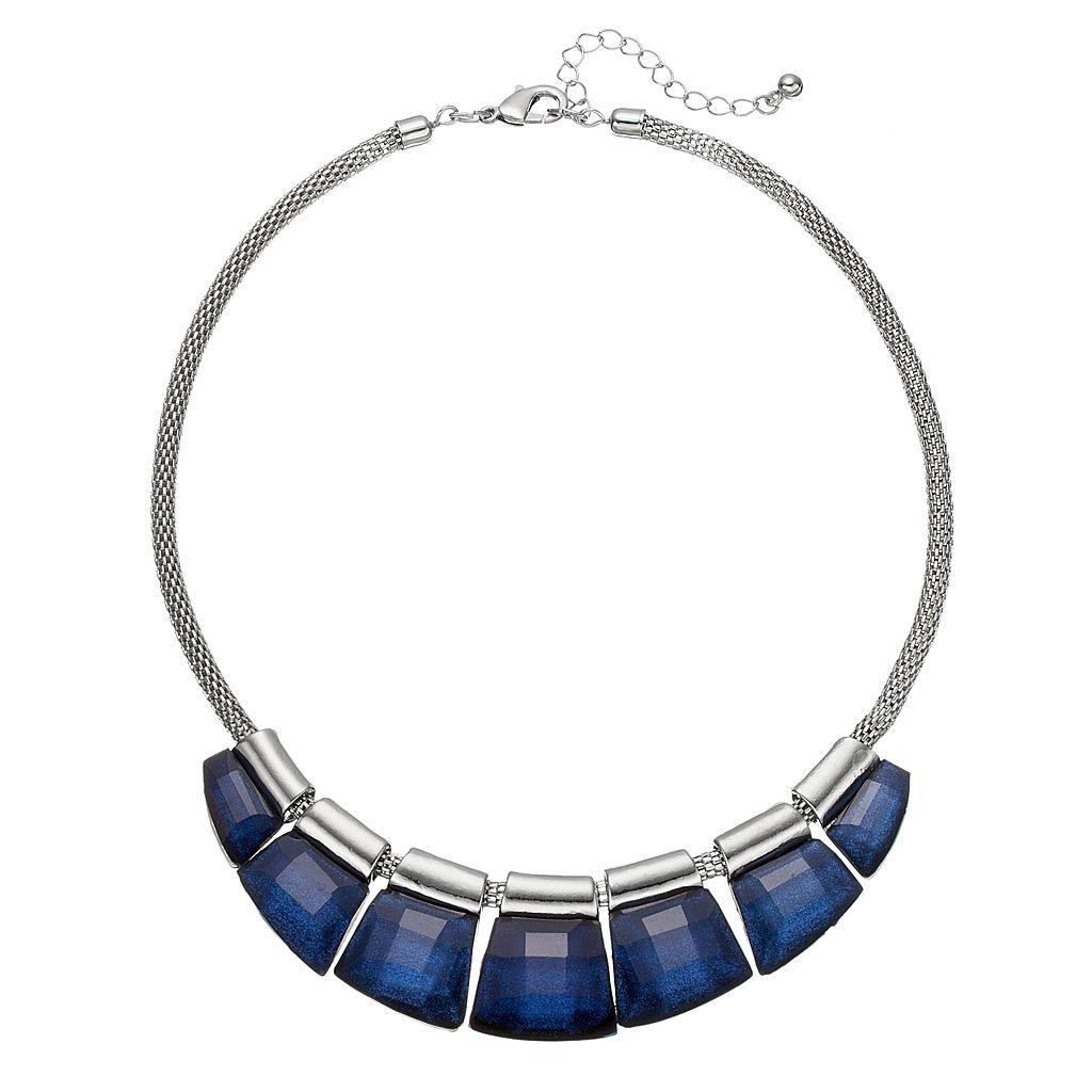 Blue Graduated Stone Slider Statement Necklace