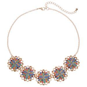 Multi Color Floral Medallion Necklace
