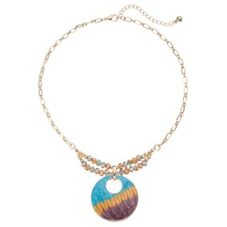 Beaded Tri Color Disc Necklace