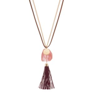 Long Pink Stone Tassel Pendant Necklace